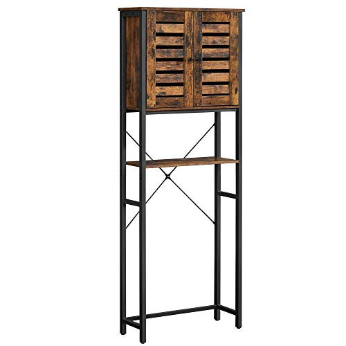 VASAGLE COBADO Over-The-Toilet Storage, Bathroom Organizer Cabinet, with Cupboard and Shelf, Steel Frame, Easy Assembly, Industrial, Rustic Brown and Black UBTS004B01