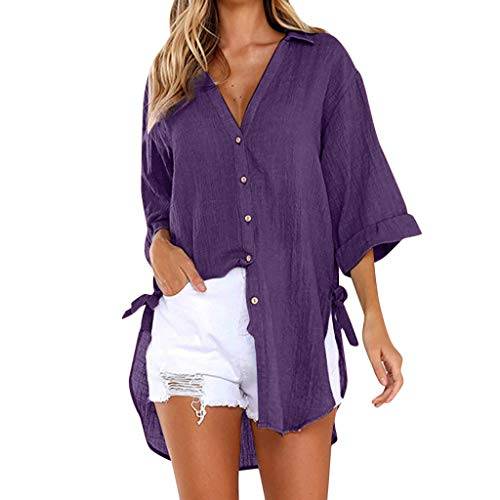 Womens Blouse Summer Womens Loose Tops Plus Size Button Long Shirt Dress Cotton Ladies Casual T-Shirt (5XL, Purple B)