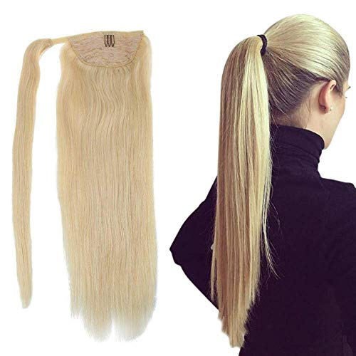 Easyouth Ponytail Haarverlängerung Wrap Around With Claw Clips 22 Zoll Farbe Hellblond 100g Pro Paket One Piece Hair Extensions Long Silky Straight Remy Menschliches Haar For Women