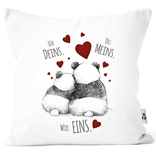 MoonWorks® Kissenbezug Kissenhülle Panda Motiv Spruch Ich Deins Du Meins Wir Eins Liebes-Geschenk Partner Liebesbeweis weiß Unisize