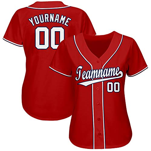 Personalized Women's Short-Sleeve Button-Down Baseball/Softball Jersey Stitched&Printed Custom Team Uniforms S Red and White