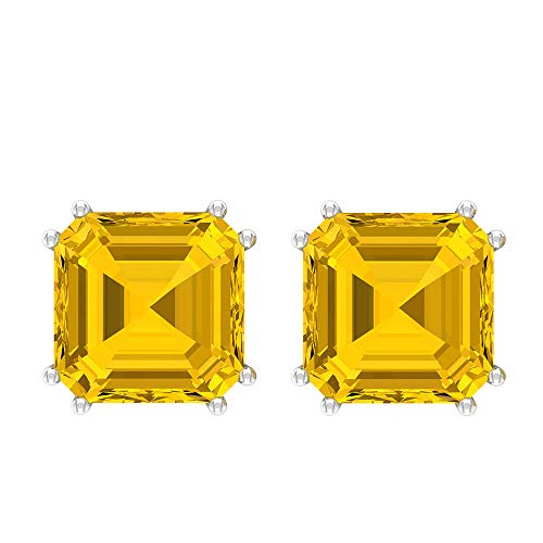 10 CT Yellow Sapphire Lab Created Stud Earrings, 8 MM Asscher Cut Earrings, Gold Solitaire Earrings for Women (AAA Quality), 18K Yellow Gold, Pair