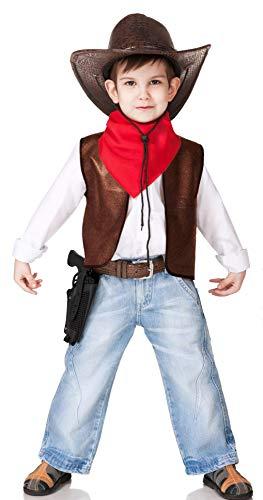 Gojoy Shop - Disfraz de Chaleco Vaquero Cowboy para nios Fiesta San Fermn, contiene: chaleco, sombrero, pauelo rojo y jueguete de pistola con funda. (3 tallas diferentes) (10-12 AOS)