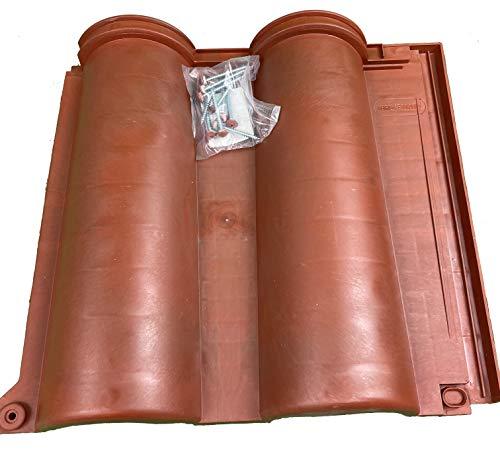 Tegole in plastica doppia onda colore Terracotta con accessori, confezione da 17 pezzi, 1,95 mq (Tegole doppia onda)