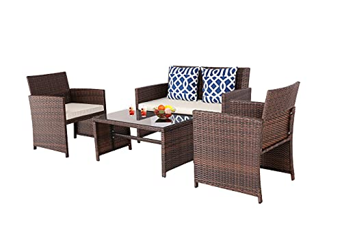 BPTD 4 Pieces Outdoor Patio Furniture Sets All Weather Wicker Chairs Set with Coffee Table and Chair Set for Backyard Porch Poolside Patio Seating Set (Beige)