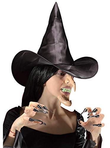 Inception Pro Infinite Set Strega - Cappello + Naso + Mento + Unghie + Denti Finti - Travestimento - Halloween - Carnevale - Bambini - Uomo - Donna - Unisex