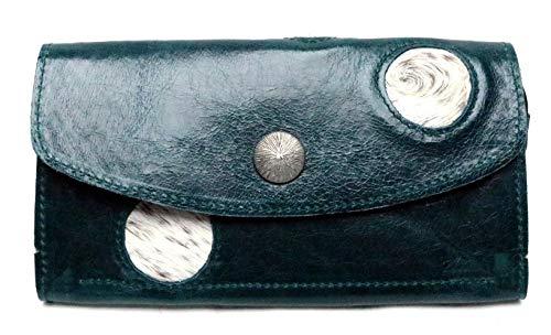 Portemonnaie/Geldbörse aus echtem Rindsleder & Kuhfell | 4 Fächer (Kleingeldfach mit Reißverschluss), 12 Kartensteckfächer, Druckknopf | Maße: 19,5 cm x 10 cm x 2 cm | tannengrün-meliert