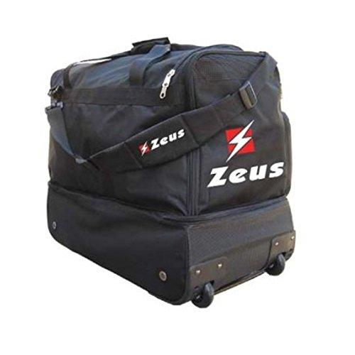 Zeus Borsa Star Borsone Trolley Calcio Palestra Viaggi Vacanze con Tracolla Comoda E CAPIENTE 48 x 58 x 34 cm (Nero)