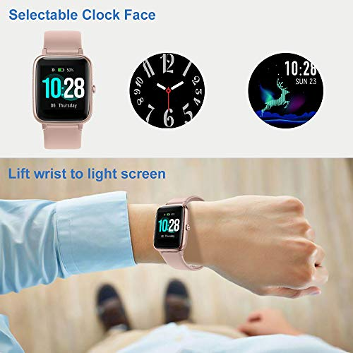 YAMAY Smart Watch Fitness Tracker Watches for Men Women, Heart Rate Monitor IP68 Waterproof Digital Watch with Step Sleep Tracker Call Message Alerts,Smartwatch Compatible iPhone Android Phones Pink 7