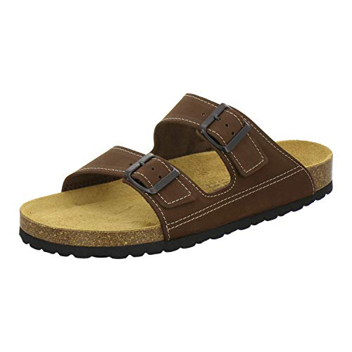 AFS-Schuhe 3110 sportliche Herren Pantoletten Leder, Bequeme Hausschuhe Korkfussbett, Made in Germany (43 EU, Tabak)