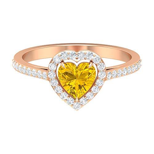Anillo de compromiso de zafiro amarillo creado en forma de corazón de 1,25 quilates con halo de diamantes y piedras laterales (calidad de reliquia), oro de 14 quilates amarillo