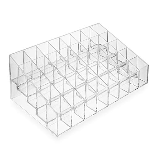 Casafield 40 Slot Acrylic Lipstick & Makeup Organizer - Cosmetic Display Case - Clear