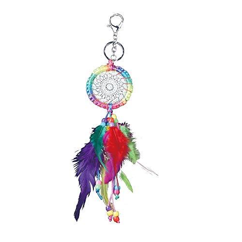Hsagdas Llavero de la pluma colorida del cordón del ganchillo de los sombreros/los bolsos/bufandas/zapatos/los teléfonos móviles, etc.