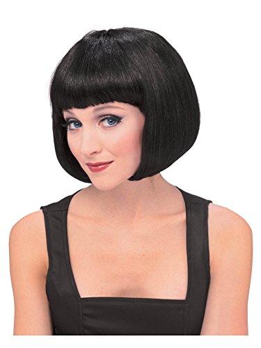 Peluca morena de Broadway, pelo corto y flequillo en negro, más colores disponibles (Rubies 50425)