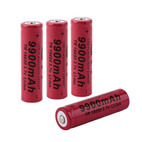 18650 Batería Recargable de Iones de Litio 3.7V 9900mAh Baterías de botón de Gran Capacidad para Linterna LED, iluminación de Emergencia, Dispositivos electrónicos, etc. 4 Piezas (Red)