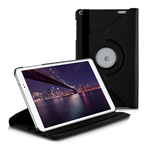 kwmobile 360° Case Compatible with Huawei MediaPad T1 10 - PU Leather Tablet Cover with Stand Function - Black