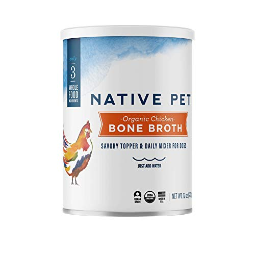 Native Pet Organic Bone Broth for Dogs and Cats - Human Grade Protein Powder & Rich Source of Collagen for Dogs - Food Mixer and Topper with Chicken and Sweet Potato (12oz)