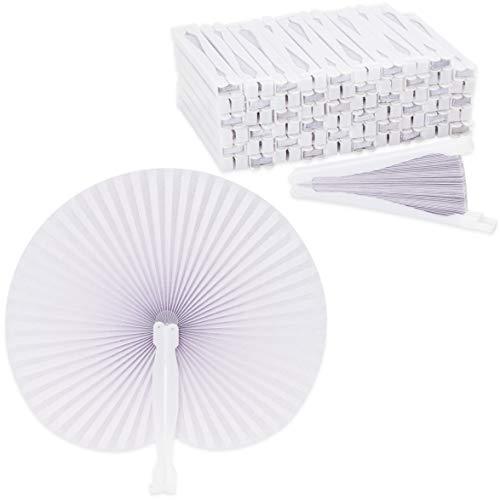 Juvale - Ventaglio pieghevole in carta bianca, 25,4 x 24,1 cm, confezione da 60