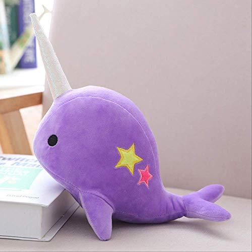 bozhengzb Multi-color Cute Stuffed Sea Animal Narwhal Plush Toys Soft Pillow For Home Decoration 35cm purple