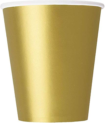 Unique Party Pappbecher,gold, 270 ml,14er Packung