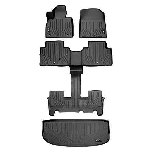 SMARTLINER Floor Mats 2 Rows and Cargo Liner Behind 3rd Row Set Black Compatible With 2020-2022 Hyundai Palisade (with 2nd Row Bucket Seats)