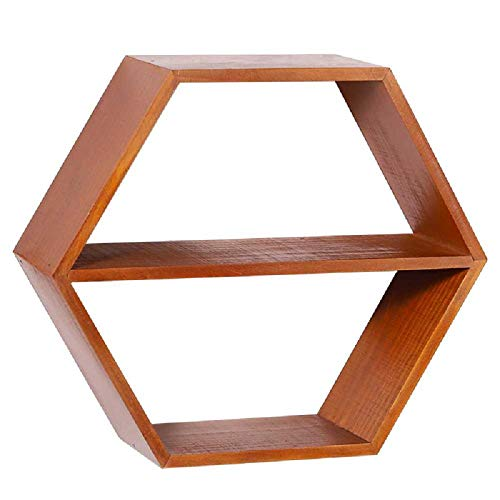 hengguang Retro Creative Solid Wood Hexagonal Wall Shelf, Home Living Room Bedroom Wall Decorative Storage Rack Home Goods Vintage color