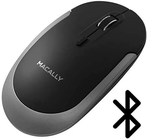 Macally Wireless Bluetooth Mouse for Mac and PC - Quiet Click Buttons with Slim Comfortable Body - Silent Wireless Mouse with DPI 800/1200/1600 - Workflow Enhancing Bluetooth Computer Mouse (Black)