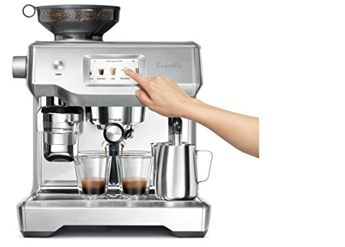 Breville Fully Automatic Espresso Machine, Oracle Touch 6 SWIPE. SELECT. ENJOY: With automation at every stage, simply swipe and select for espresso, long black, latte, flat white or cappuccino and enjoy caf? quality coffee at home DOSE AMOUNT: The integrated conical burr grinder automatically grinds, doses and tamps 22 grams of coffee, similar to the commercial machine in your favorite cafe PRECISE WATER TEMPERATURE: The difference between an ashy or balanced tasting espresso can be caused by temperature change as little as 2?F. The Oracle Touch uses digital temperature control (PID) technology, this ensures the temperature is kept at its optimum range.