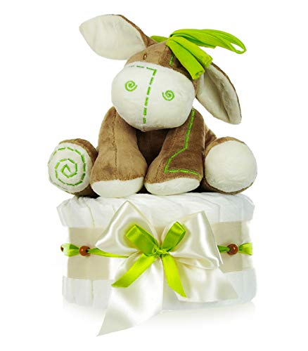 dubistda© Windeltorte neutral | Baby Spieluhr Esel grün 35cm | Geschenk zur Geburt Mädchen/Jungen | 21-teilig + Grußkarte (beige/creme/apfel)