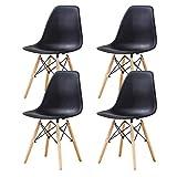 Lot de 4 Chaises Blanches Ensemble de chaises Design avec Assise en résine Lot de Chaises Salle à Manger Chaise de Cuisine avec Pieds en Boi (Noir)