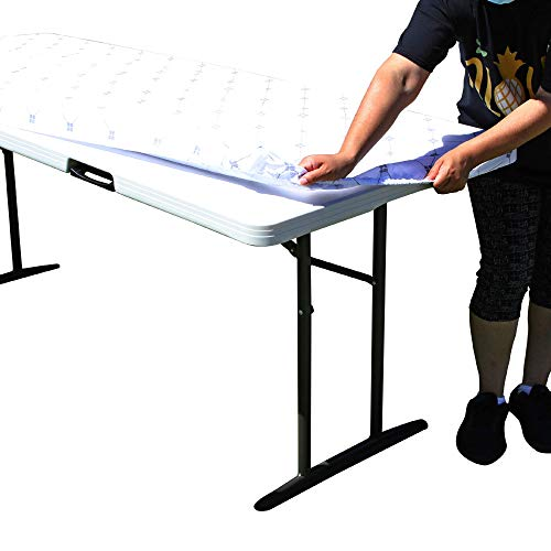 TableClothPLUS Diamonds 72' Elastic Fitted Polyester Tablecloth, 6' Folding Table Size