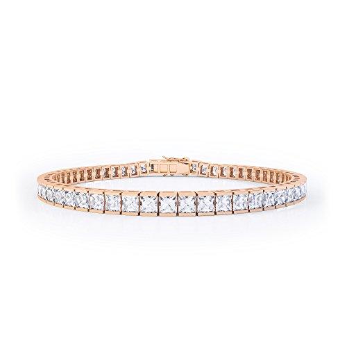 Tennis-Armband mit Diamanten im Princess-Schliff, Rotgold-Einfassung 18kt, 17,78cm