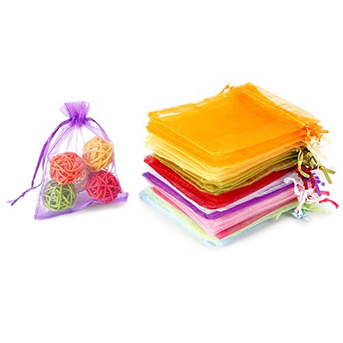 """WenTao 100PCS Organza Gift Bags, 4x4.72"""" Mixed Color Wedding Favor Bags with Drawstring, Premium Candy Jewelry Pouch Party Wrap"""