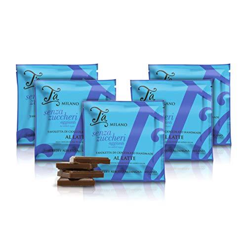 Tableta de Chocolate con Leche sin azúcar, 40% Cacao - 50 gr (Paquete de 5 Piezas)