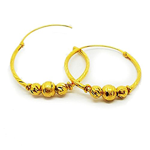 Aros 22K tailandés Baht de 24K amarillo chapado en oro pendientes joyas