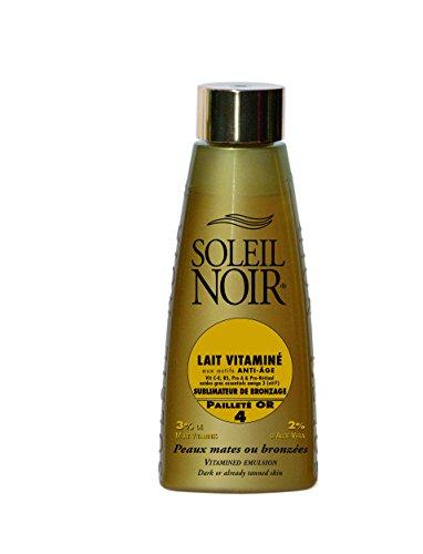 SOLEIL NOIR - Lait Vitaminé aux actifs Anti-âge - 4 Pailleté or - Sublimateur de Bronzage - Peaux mates ou bronzées - 150ml