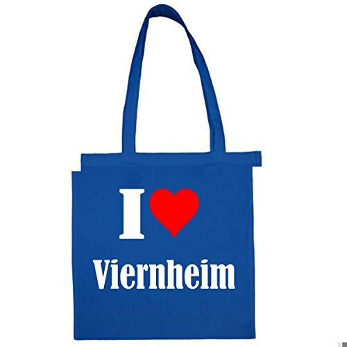 Tasche I Love Viernheim Größe 38x42 Farbe Grau Druck Schwarz