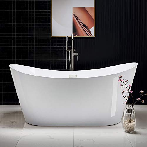 "WOODBRIDGE Modern Bathroom Glossy Acrylic Free Standing Bathtub/White, 67"" B-0010 Without Faucet"