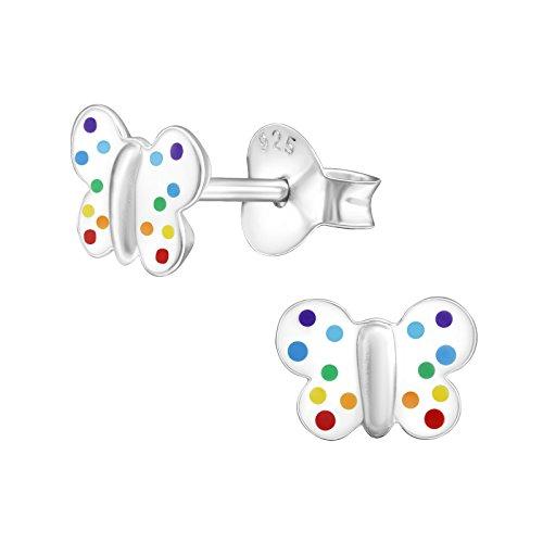 Laimons Kids Orecchini a pressione per bambini gioielli per bambini Farfalla Bianco, colorato Argento Sterling 925