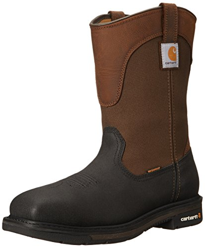 Carhartt Men's Wellington Square Safety Toe Work Boot CMP1258, Brown/Black Leather, 11 W US