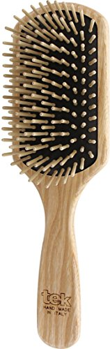 Tek große rechteckige Haarbürste mit kurzen Pins - Handgemacht in Italien