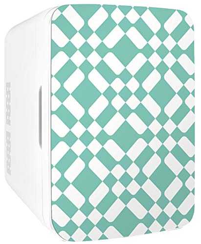 Cooluli Infinity Green Checkered Pattern 10 Liter Compact Portable Cooler Warmer Mini Fridge for Bedroom, Office, Dorm, Car - Great for Skincare & Cosmetics (110-240V/12V)