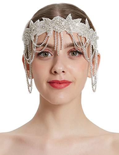 Coucoland 1920s Flapper Kralen Hoofdband Grote Gatsby Hoofdstuk met Ketting Vintage 1920s Flapper Gatsby Haarband Kleur: wit