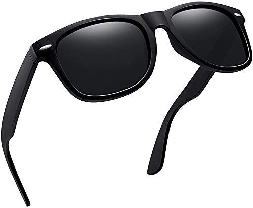 Joopin Occhiali Da Sole Polarizzati per Uomo e Donna Protezione UV400, Occhiali con Lenti Polarizzate e Montatura Rettangolare, Classico Unisex (Nero matte confezione semplice)