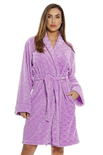 Kimono Just Love, bata de baño de terciopelo, con textura festoneada, para mujer, Lila , M
