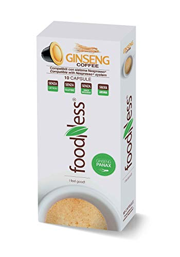 Foodness Capsula Caffè al Ginseng compatibile Nespresso - 5 Confezioni da 10 Capsule [Tot. 50 Capsule]