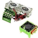 Powerhobby Motor Cooling Fan/HeatSink Dual Twin Fan + Velineon VXL-3s ESC Cooling Fan Combo Compatible with : Traxxas Slash 4x4