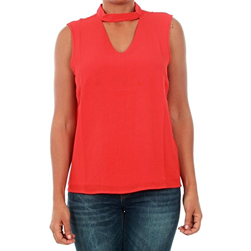 Only Camiseta Mujer XS Rojo 15145266 ONLMYRINA Choker S/L Solid Top WVN Flame Scarlet