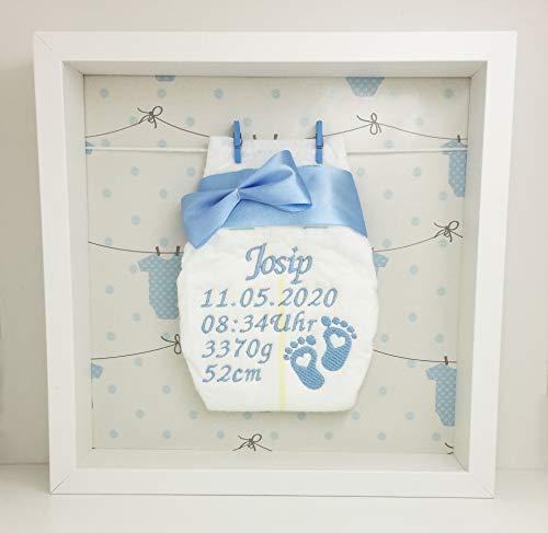 Windelrahmen Blau/Bestickte Windel im Rahmen mit Leine/Personalisiertes Geschenk Baby Geburt Taufe etc.