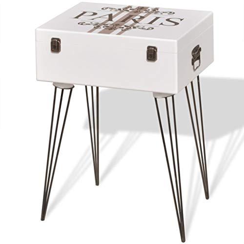 vidaXL Mesa Auxiliar Vintage MDF y Patas Acero Blanco Mueble Aparador Cómoda